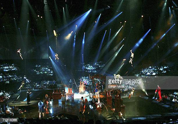 A scene during a preview of The Beatles LOVE by Cirque du Soleil performed at The Mirage Hotel Casino June 27 2006 in Las Vegas Nevada The show a...
