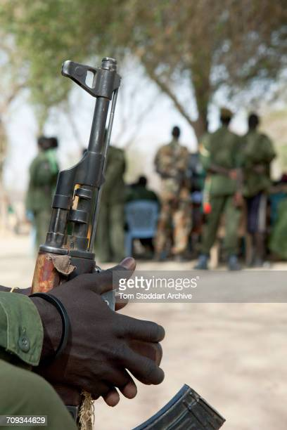 A scene during an International Committee of the Red Cross information and dissemination session with SPLA soldiers from Warrap state Leading the...