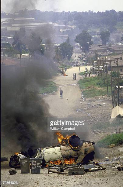 Scene during antiapartheid riots in Alexandra township