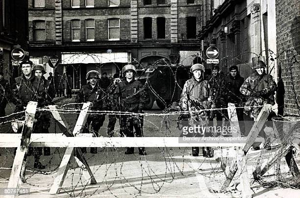 30th January 1972 A scene during the 'Bloody Sunday' riots when thirteen people lost their lives in conflict between British troops and Republicans...