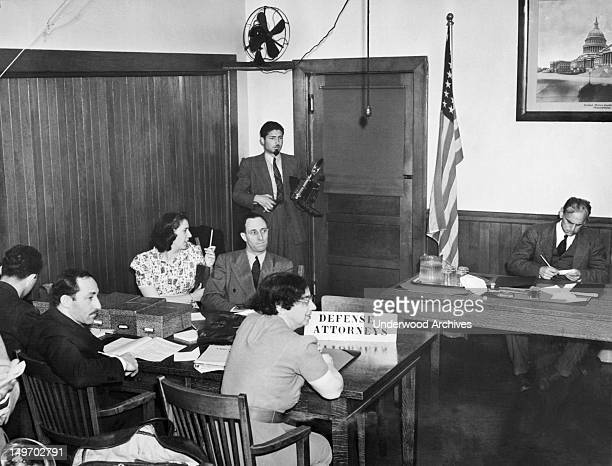 A scene during the Immigration Office on Angel Island during Harry Bridges' deportation hearing San Francisco California July 12 1939 Bridge's...
