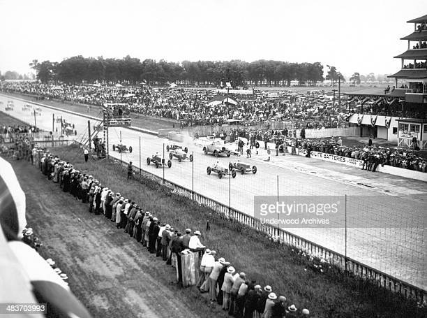 Scene during the Indianapolis 500 auto race, Indianapolis, Indiana, mid 1920s.