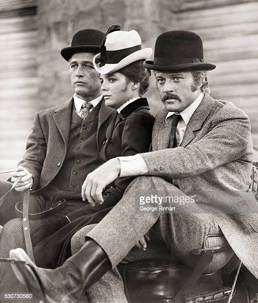 Scene from 20th Century Fox film Butch Cassidy And the Sundance Kid directed by George Roy Hill LR Paul Newman Katherine Ross Robert Redford Penguin...