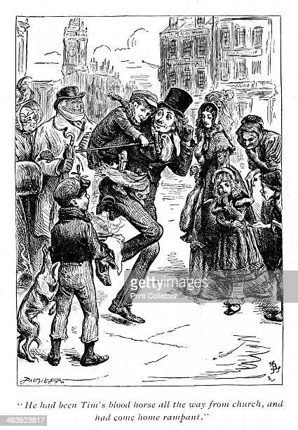 Scene from A Christmas Carol by Charles Dickens, 1843. Bob Cratchett carrying Tiny Tim: He had been Tim's blood horse all the way from church, and...