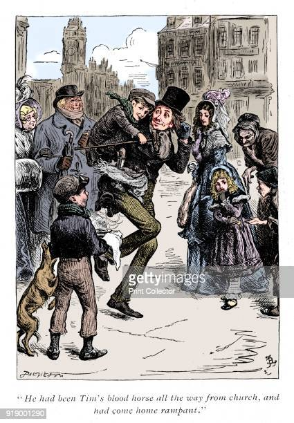 Scene from A Christmas Carol by Charles Dickens 1843 Bob Cratchett carrying Tiny Tim He had been Tim's blood horse all the way from church and had...