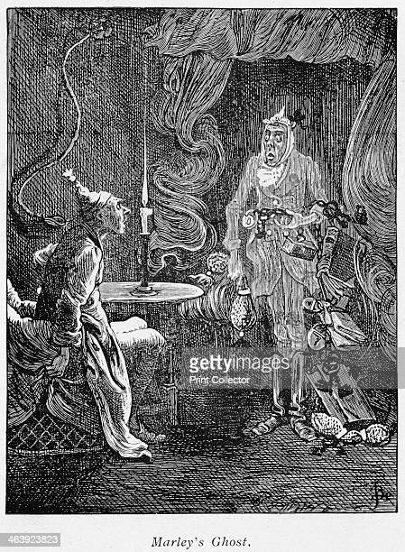Scene from A Christmas Carol by Charles Dickens, 1843. Jacob Marley's ghost, rattling chains and padlocks, appears to the miser Scrooge.
