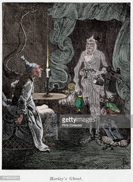 Scene from A Christmas Carol by Charles Dickens 1843 Jacob Marley's ghost rattling chains and padlocks appears to the miser Scrooge Artist Unknown