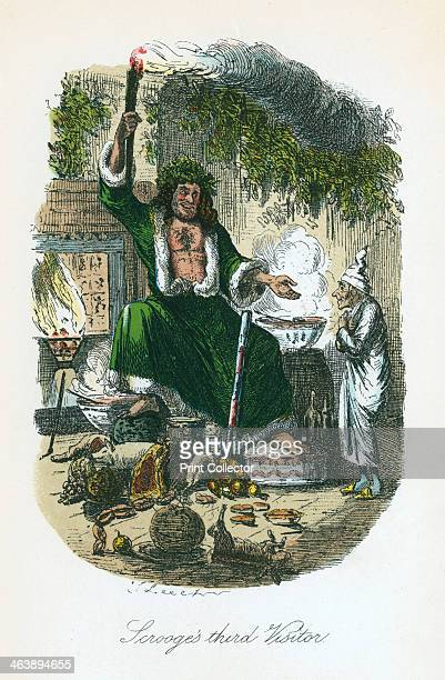 Scene from A Christmas Carol by Charles Dickens 1843 The irascible curmudgeonly Ebenezer Scrooge with the Ghost of Christmas Present the third of the...