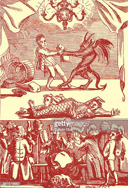 Scene from a theatre booth at Bartholomew Fair 1790 'Pull Devil Pull Baker'