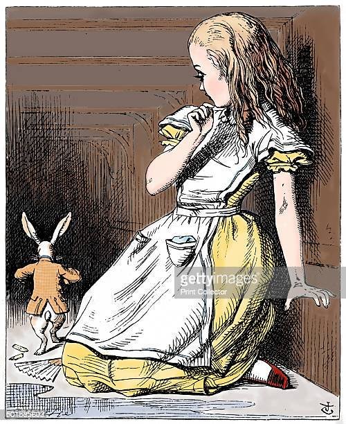 Scene from Alice's Adventures in Wonderland by Lewis Carroll 1865 Alice having eaten the piece of cake with EAT ME in currants on it grows 9ft tall...