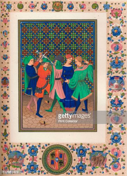 Scene from an illuminated manuscript, 15th century, . Men and women, one with a sword. On the ground is a pair of pattens, medieval platform shoes....
