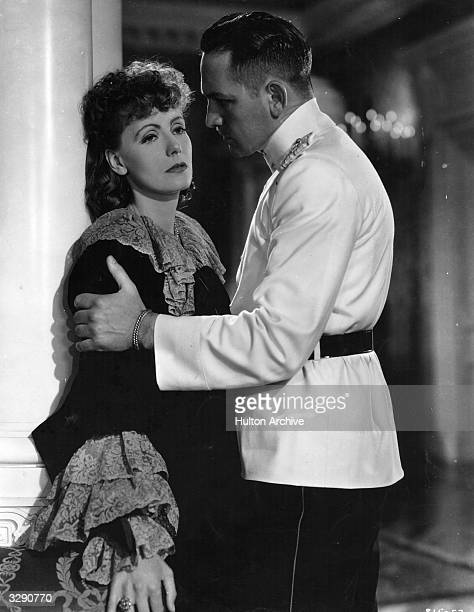 Scene from 'Anna Karenina', featuring Greta Garbo and Fredric March as the star-crossed lovers. The film was directed by Clarence Brown for MGM.