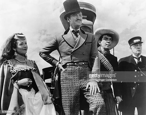 A scene from Around the World in Eighty Days The film stars Shirley MacLaine David Niven Cantinflas and Buster Keaton