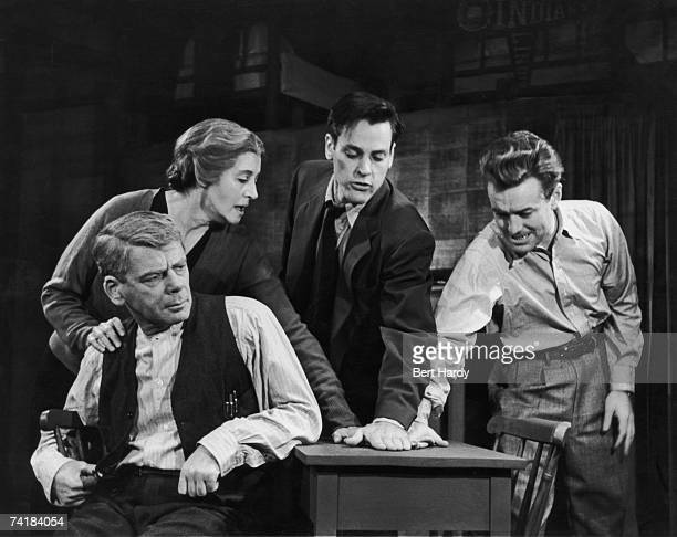 A scene from Arthur Miller's play 'Death of a Salesman' at the Phoenix Theatre in London 20th August 1949 Left to right Paul Muni as Willy Loman...