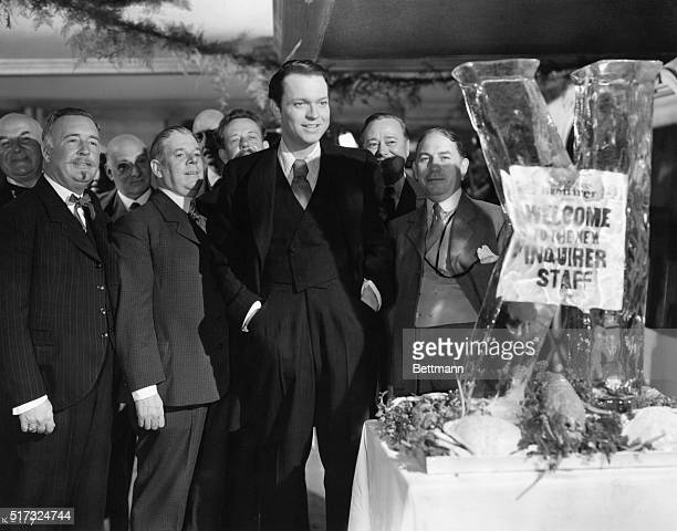 """Scene from """"Citizen Kane."""" Orson Welles at the banquet. Movie still."""