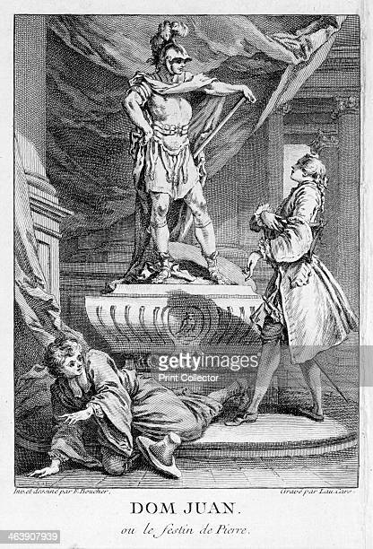Scene from Don Juan ou le Festin de Pierre Don Juan is speaking to the stone statue of the Commander whom he killed when the old man challenged the...