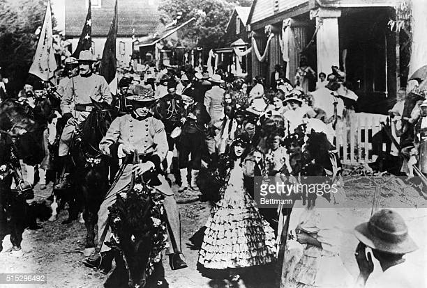 Scene from DW Griffith's 'Birth of a Nation' Confederate troops on the march Movie still
