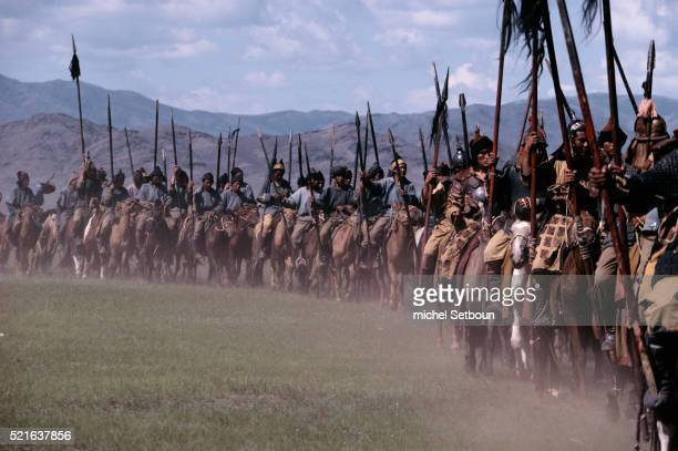 scene from genghis khan in mongolia - spear stock pictures, royalty-free photos & images
