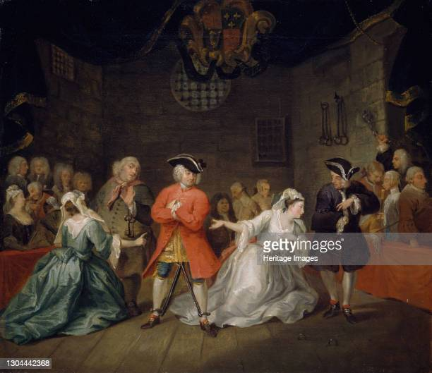 Scene from John Gay's The Beggar's Opera, 1728. The Beggar's Opera is a ballad opera in three acts written in 1728 by John Gay with music arranged by...