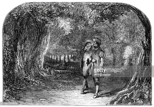 "Scene from ""La Partie de Chasse de Henri Quatre"", at the St. James's Theatre, 1845. London stage production of a play by Charles Collé. 'The..."