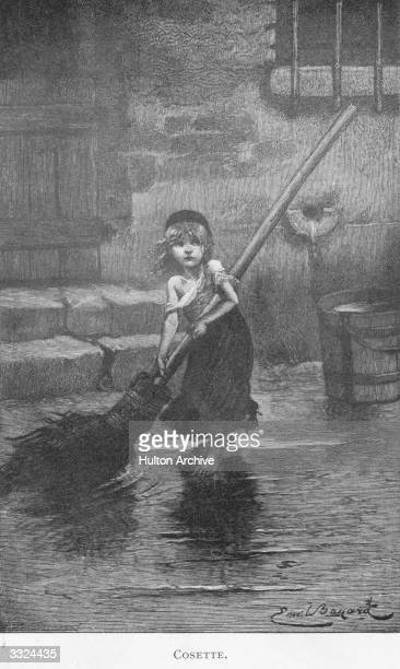A scene from 'Les Miserables' by Victor Hugo a ragged and barefoot Cosette sweeps a flooded yard Les Miserables pub 1862 Illustration Emile Bayard