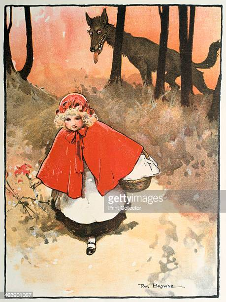 Scene from Little Red Riding Hood 1900 This fairy tale common to Germany Sweden and France appears in Histoires ou Contes du temps passe by Charles...