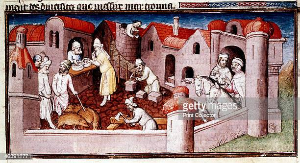 Scene from Marco Polo's Book of Marvels early 15th century showing merchants entering a walled town mason and carpenter at work a shopkeeper serving...
