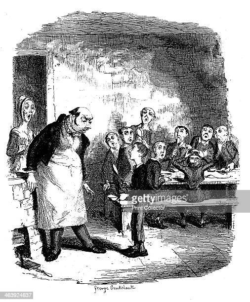 Scene from Oliver Twist by Charles Dickens 1836 Oliver Twist causes a sensation in the children's ward of the workhouse by asking for a second...