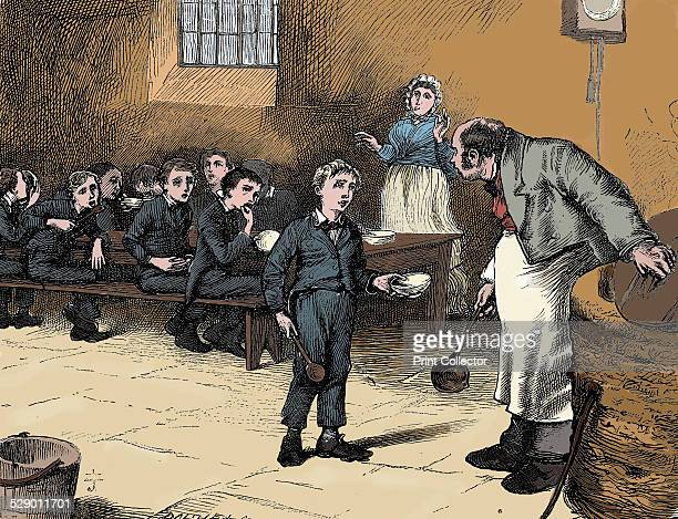 Scene from Oliver Twist by Charles Dickens, 1871. Oliver Twist causes a sensation in the children's ward of the workhouse by asking for a second...