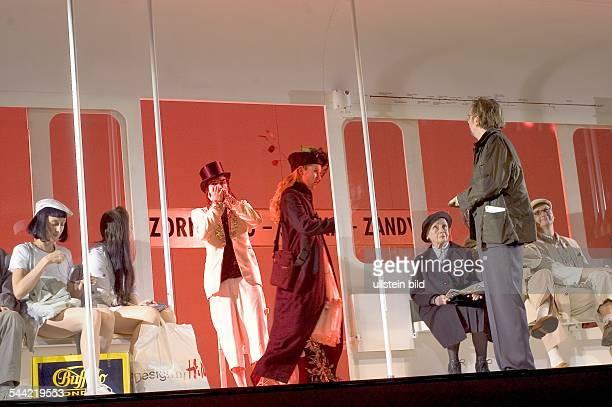 Scene from Peter Handke's play 'Untertagblues' in the Berliner Ensemble with Mareile Blendl, Christina Drechsler, Oliver Urbanski , Doerte Lyssewski,...