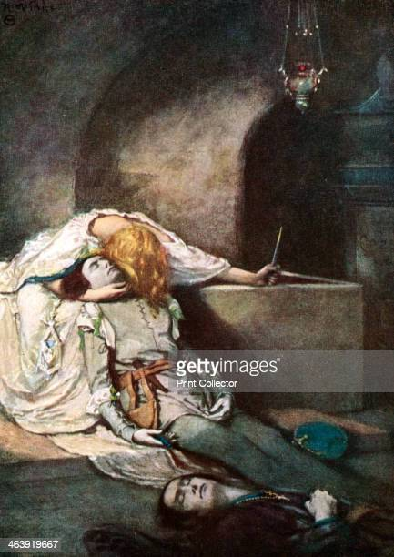 Scene from Shakespeare's Romeo and Juliet. Act V, scene 3: The Death of Romeo. Illustration for William Shakespeare's tragedy Romeo and Juliet,...