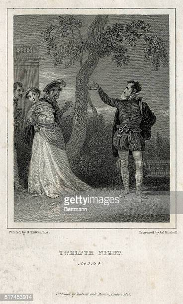Scene from Shakespeare's Twelfth Night Act 3 Scene 4 Undated engraving
