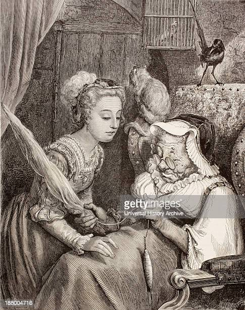 Scene From Sleeping Beauty By Charles Perrault The Princess Finds An Old Woman Spinning Not Knowing She Is Really The Wicked Fairy In Disguise After...