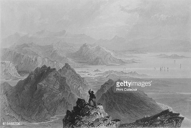 Scene from Sugarloaf Mountain' c1840 Sugarloaf Mountain in Rio de Janeiro Brazil is at the mouth of Guanabara Bay on a peninsula of the Atlantic...