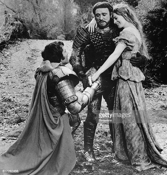 A scene from the 1967 film Camelot in which Richard Harris plays King Arthur and Vanessa Redgrave his wife Queen Guenevere