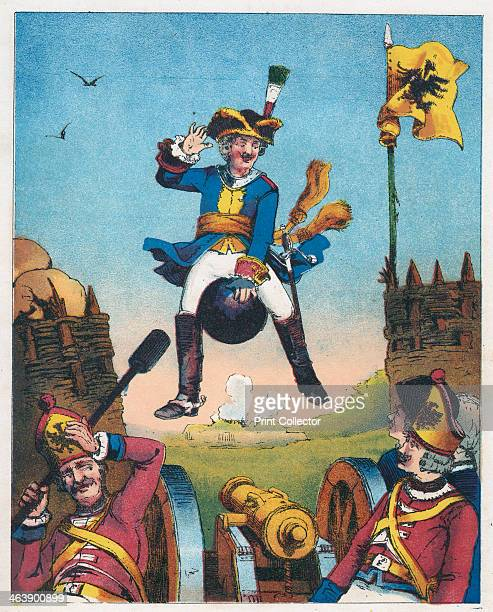 Scene from The Adventures of Baron Munchausen by Rudolph Erich Raspe c1850 Munchausen surprising artillerymen by arriving in their midst mounted on a...