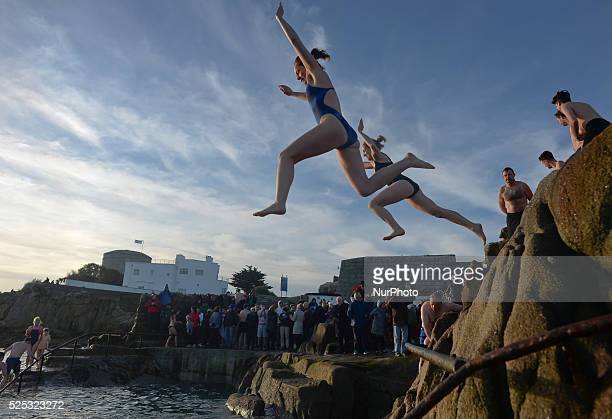 A scene from the annual Christmas Day swim at the 40 Foot in near Dun Laoghaire in Dublin Ireland 25 December 2014 Photo by Artur Widak/NurPhoto