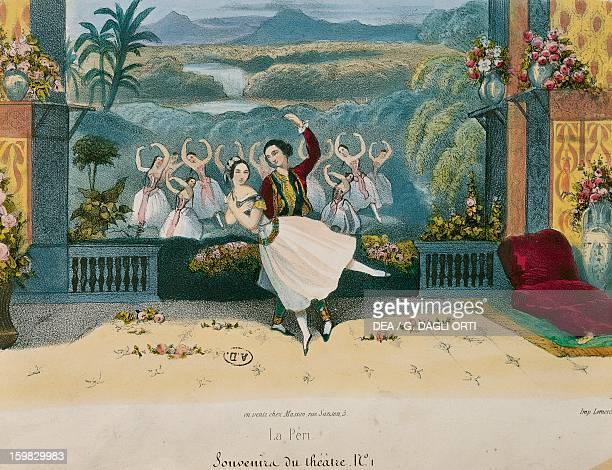 Scene from the ballet La Peri libretto by Theophile Gautier choreography by Jean Coralli Engraving France 19th century Paris Bibliothèque Des Arts...
