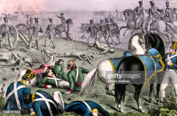 Scene from the battle of Resaca de La Palma when American forces under General Zachary Taylor defeated General Mariano Arista's Mexican Army of the...