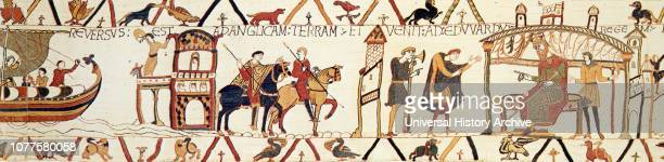 A scene from the Bayeux Tapestry depicting King Edward talking with Harold The Bayeux Tapestry is an embroidered cloth nearly 70 metres long and 50...