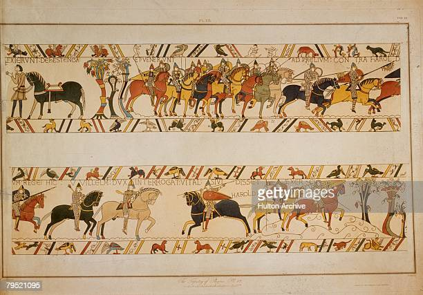 A scene from the Bayeux Tapestry depicting the Norman Invasion of 1066 William the Conqueror asks Vital the whereabouts of King Harold II's army The...