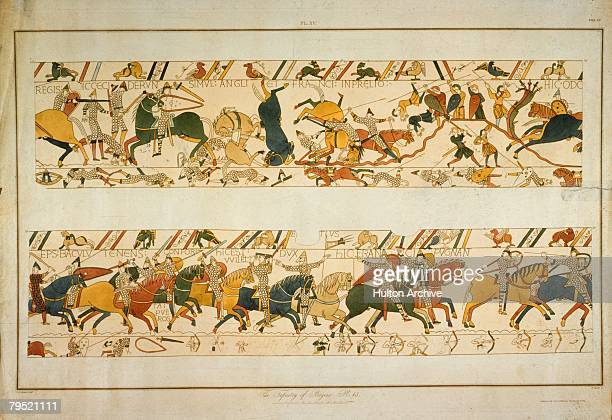 A scene from the Bayeux Tapestry depicting the Norman Invasion of 1066 William the Conqueror's halfbrother Bishop Odo of Bayeux encourages his...