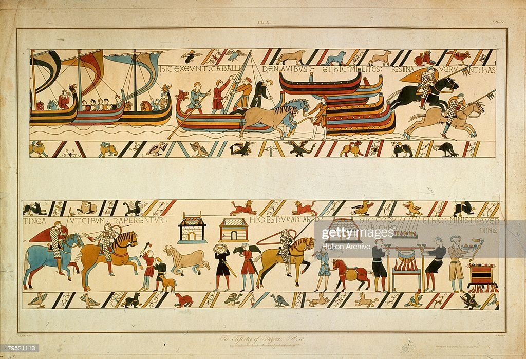 A scene from the Bayeux Tapestry, depicting the Norman Invasion of 1066. William the Conqueror's troops land at Pevensey and make their way to Hastings, where they prepare food. The tapestry is housed in the town of Bayeux in Normandy.