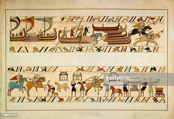 A scene from the Bayeux Tapestry depicting the Norman Invasion of 1066 William the Conqueror's troops land at Pevensey and make their way to Hastings...