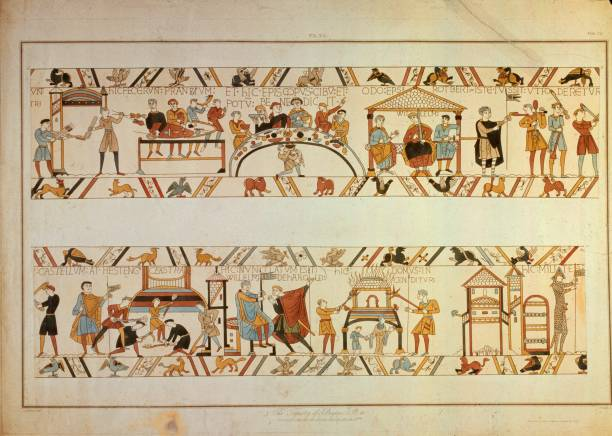 A scene from the Bayeux Tapestry, depicting the Norman...
