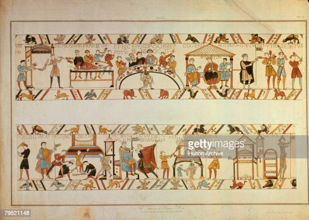 A scene from the Bayeux Tapestry depicting the Norman Invasion of 1066 William the Conqueror's halfbrother Bishop Odo of Bayeux blesses the Normans'...