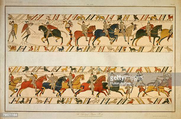 A scene from the Bayeux Tapestry depicting the Norman Invasion of 1066 William the Conqueror addresses his troops before leading them into battle The...