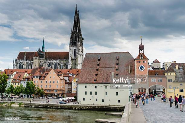 Scene from the beautiful historic city of Regensburg, Upper Palatinate, Bavaria, Germany. Regensburg is situated at the confluence of the Regen and...