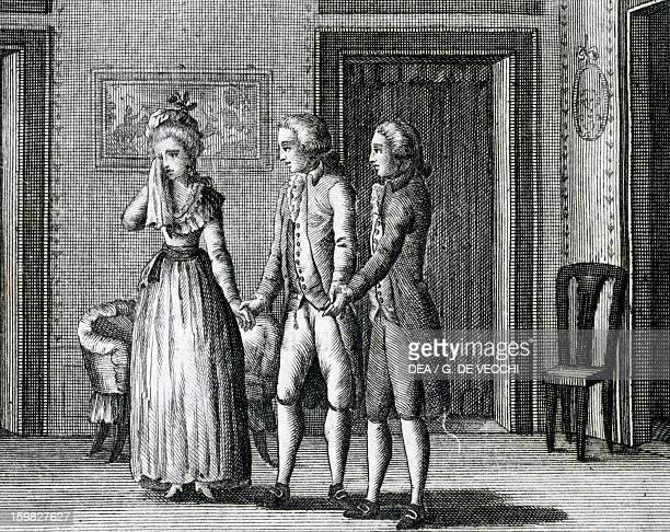 Scene from The Benevolent Curmudgeon by Carlo Goldoni engraving 1789