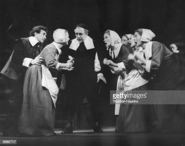Scene from the Bristol Old Vic Company production of Arthur Miller's play 'The Crucible' in 1954 starring Abigail Williams, John Hale and John...